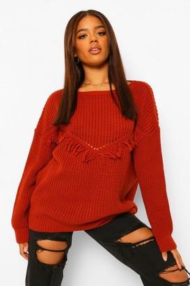 boohoo Tall Tassel Front Sweater