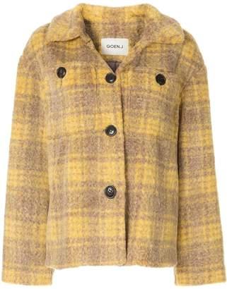 GOEN.J Checked eco fur jacket