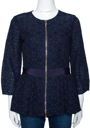 Carolina Herrera Navy Blue Floral Corded Lace Peplum Jacket S