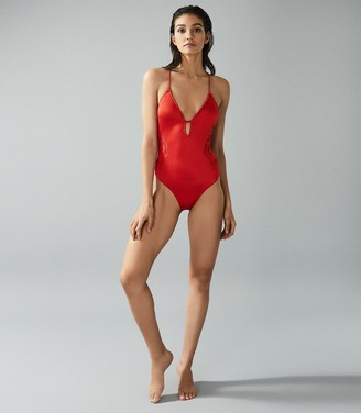 Reiss BERNICE CROSS-BACK SWIMSUIT WITH EMBROIDERED DETAIL Red