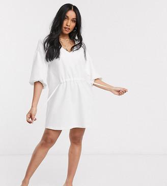 ASOS DESIGN Petite tie detail smock dress in white