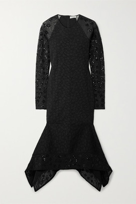 Opening Ceremony Stretch-cloque And Sequined Tulle Midi Dress - Black