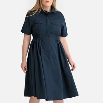 Castaluna Plus Size Flared Elasticated Waist Shirt Dress