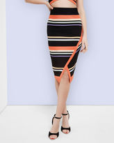 XAMMIE Tribal Stripe wrap midi skirt