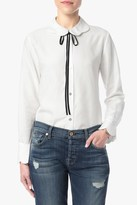 7 For All Mankind Scalloped Blouse With Bow Tie