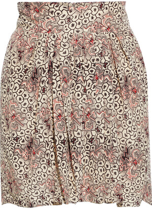 Isabel Marant Hemen Pleated Printed Silk Crepe De Chine Mini Skirt