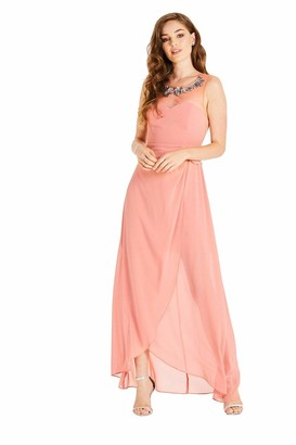 Little Mistress Carrie Orange Hand-Embellished Maxi Dress 12 UK Desert Flower