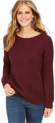 Style&Co. Style & Co Petite Drop-Sleeve Ribbed Sweater