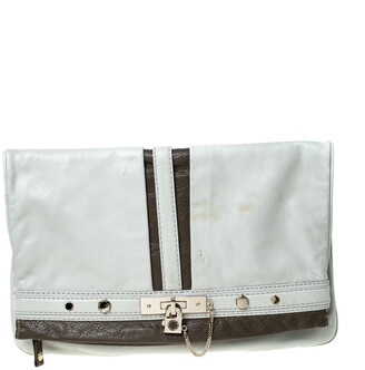 Marc Jacobs Marc by Light Grey/Brown Leather Magazine Fold Over Clutch
