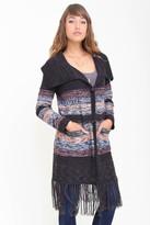 Goddis Amalia Long Fringe Knit Jacket In Dark Shadows