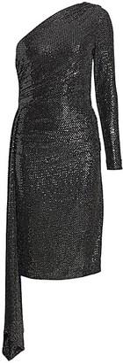 Teri Jon by Rickie Freeman One-Shoulder Knit Sequin Bodycon Dress