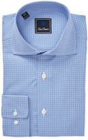 David Donahue Blue Print Regular Fit Dress Shirt