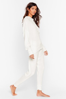 Nasty Gal Womens Drop Knit Low Sweater and Jogger Lounge Set - Cream
