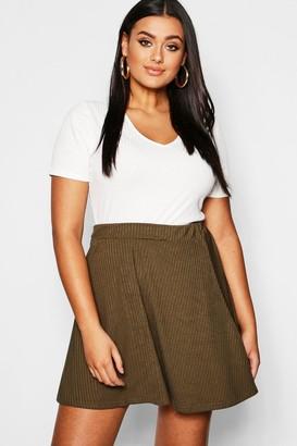 boohoo Plus Rib Skater Skirt