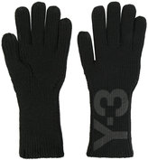 Y-3 logo print gloves - men - Cotton - M