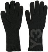 Y-3 logo print gloves - men - Cotton - S