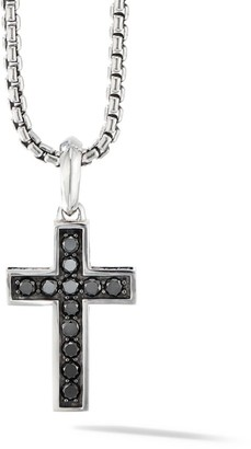David Yurman The Pave Collection Cross Black Diamond & Sterling Silver Enhancer Pendant