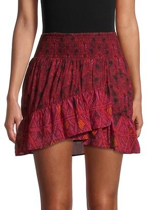 Free People Riviera Mixed-Print Ruffle Skirt