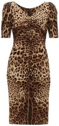 Dolce & Gabbana Leopard-print Ruched Silk-blend Midi Dress - Womens - Leopard