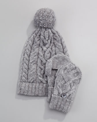Neiman Marcus Cashmere Cable-Knit Hat, Gray Flannel, 6-24 Months
