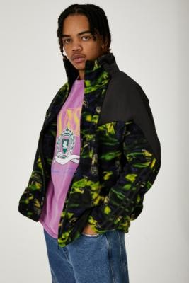 adidas Big Trefoil Printed Polar Fleece Track Top - Green S at Urban Outfitters