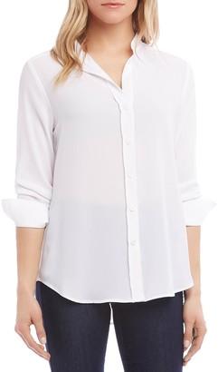 Karen Kane Shirred 3/4 Sleeve Shirt