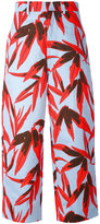 Marni Drill Swash print cropped trousers - women - Cotton/Linen/Flax - 40