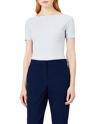 Meraki Amazon Brand Women's Slim Fit Cotton Blend Rib Boat Neck T-Shirt