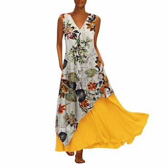 Toamen Women's Dress Toamen Womens Floral Print Maxi Dresses Sale Vintage Loose O-Neck Summer Beach Party Prom Swing Long Dress(Brown 3XL)