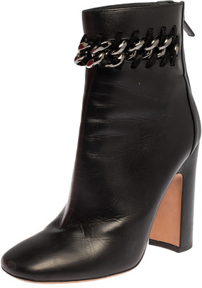 Valentino Black Leather Chain Link Block Heel Ankle Boots Size 39