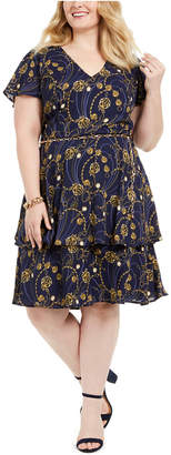Teeze Me Juniors' Plus Size Printed Belted Fit & Flare Dress