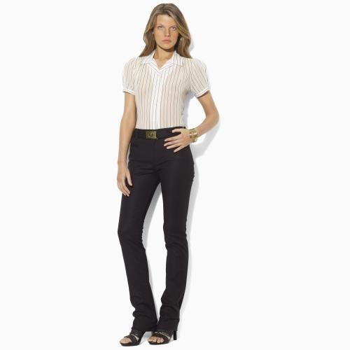 Ralph Lauren Silk Georgette Striped Blouse