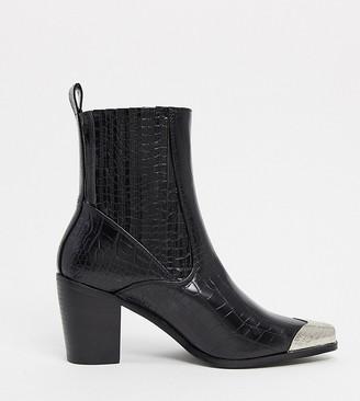 Raid Wide Fit Priscilla western boots in black croc with toe cap
