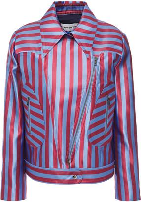 Self-Portrait Striped Sateen Biker Jacket