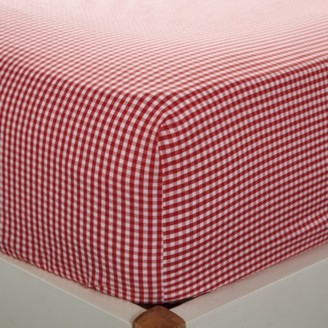 The White Company Gingham Fitted Sheet, Post Box Red, Cot Bed