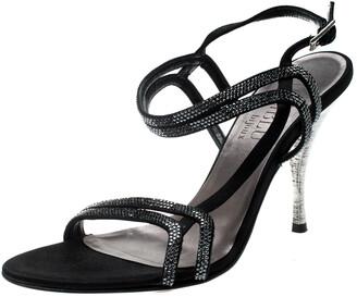 Loriblu Black Satin Crystal Embellished Strappy Sandals Size 37.5