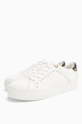 Topshop Womens Cyrus White Studded Trainers - White