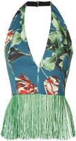 Patbo floral print appliqué top
