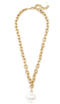 """Zenzii Gold-Tone Imitation Pearl Cable-Link Pendant Necklace, 17"""" + 2"""" extender"""