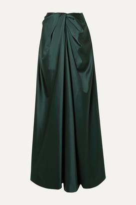 Rosetta Getty Twist-front Satin Maxi Skirt - Dark green
