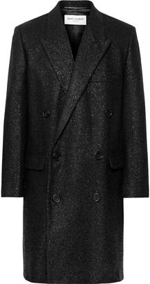 Saint Laurent Metallic Woven Double-Breasted Overcoat - Men - Black