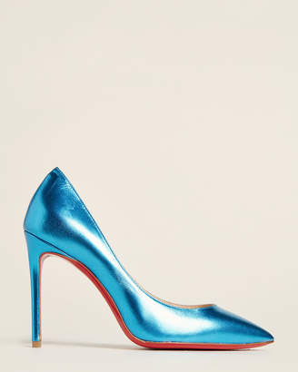 Christian Louboutin Light Blue Pigalle Pointed Toe Metallic Pumps