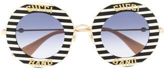 Gucci Striped Round Frame Sunglasses