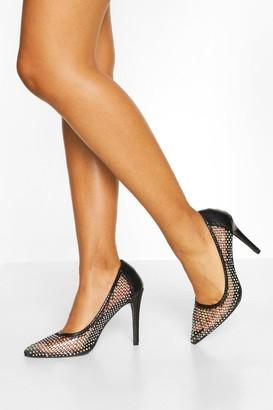 boohoo Diamante Mesh Detail Court Shoes