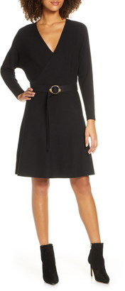 Ever New Madelyn Belted Ribbed Long Sleeve Sweater Dress