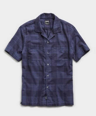 Todd Snyder Portuguese Two Pocket Boucle Plaid Short Sleeve Shirt in Navy