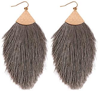 Riah Fashion Women's Earrings Dark - Dark Gray & Goldtone Feathered Tassel Drop Earrings