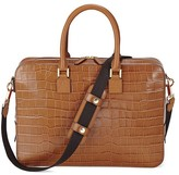 Aspinal of London Small Mount Street Bag In Deep Shine Vintage Tan Croc