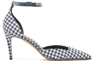Alexandre Vauthier Cindy Houndstooth-print Crystal-embellished Pumps - Navy White