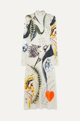 Temperley London Clementina Printed Hammered Stretch-silk Satin Midi Dress - Off-white